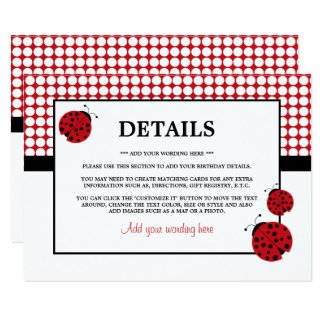 Red Ladybug Children's Birthday Party Detail Card