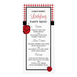 Red Ladybug Children's Birthday Party Menu Customized Rack Card