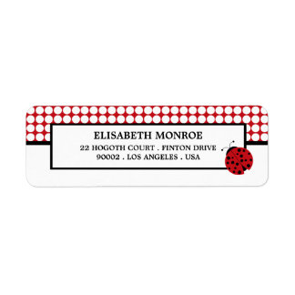 Red Ladybug Children's Birthday Party Return Address Label