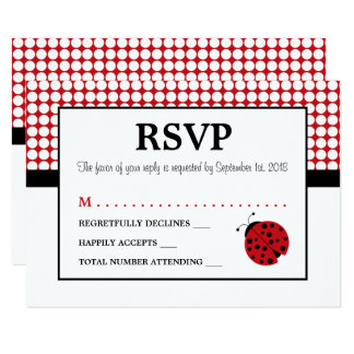 Red Ladybug Children's Birthday Party RSVP Card