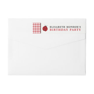 Red Ladybug Children's Birthday Party Wrap Around Label