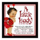 Red Ladybug Ethnic Girl Ladybug Baby Shower 13 Cm X 13 Cm Square Invitation Card