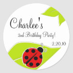 Red Ladybug Favour Tags Round Sticker