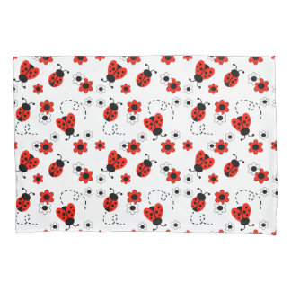 Red Ladybug Lady Bug Floral White Flowers Pillowcase
