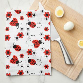 Red Ladybug Lady Bug Floral White Spring Flowers Tea Towel