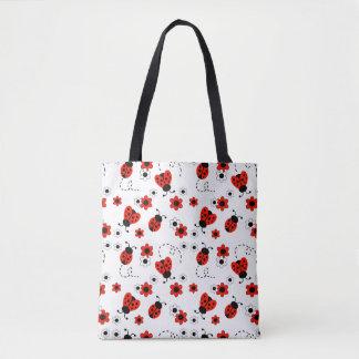 Red Ladybug Lady Bug Floral White Spring Flowers Tote Bag