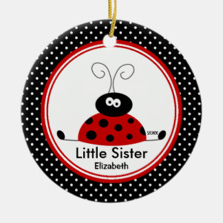 Red Ladybug  Little Sister Christmas Ornament