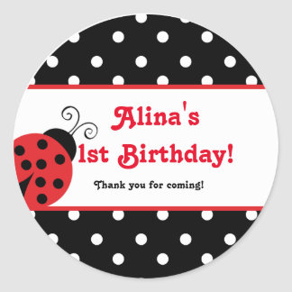 Red Ladybug polka dot party favor stickers