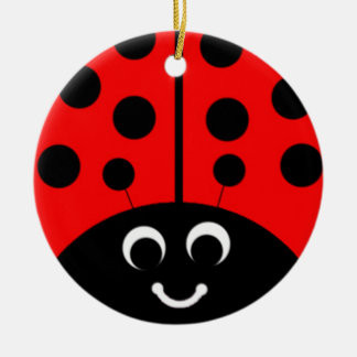 red ladybug round ceramic decoration