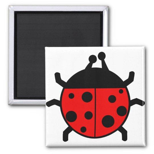 Red Ladybug. Square Magnet