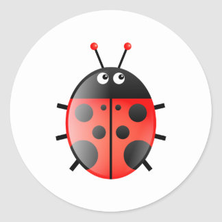 Red Ladybug Round Sticker