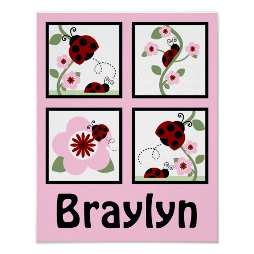 Red Ladybugs and Flowers Personalised Art Poster