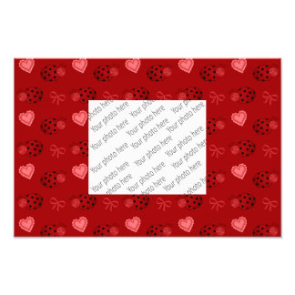 Red ladybugs hearts bows pattern photographic print