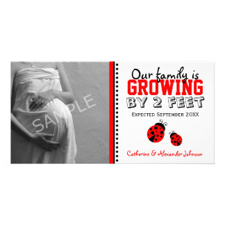 Red Ladybugs Pregnancy Announcement Photo Card