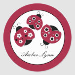 Red Ladybugs With Black Flowers Round Sticker