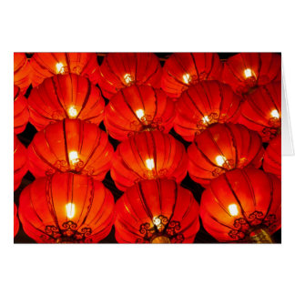 Red lantern at night greeting card
