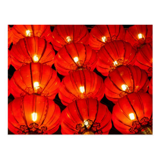 Red lantern at night postcard