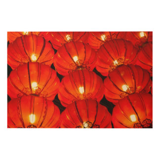 Red lantern at night wood wall decor
