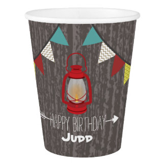 Red Lantern Camping Kids Birthday Party Cups