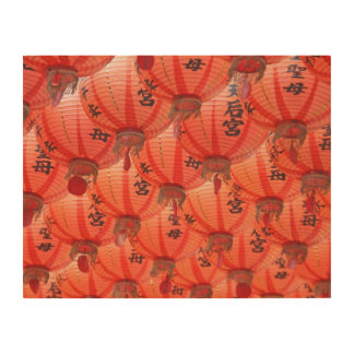 Red lanterns wood wall decor