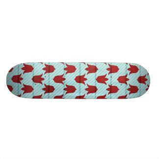 Red Larger Tulips Pattern 18.1 Cm Old School Skateboard Deck