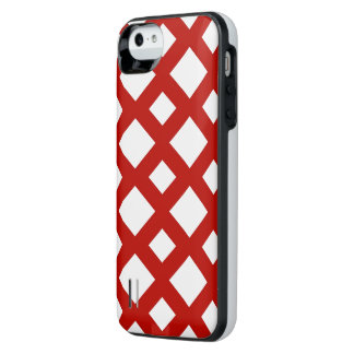 Red Lattice on White iPhone SE/5/5s Battery Case