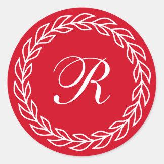 Red Laurel Wreath with Custom Monogram Round Sticker