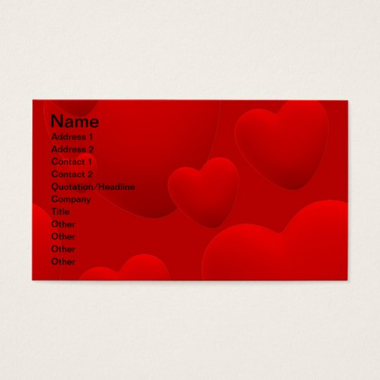 RED LAYERED 3D HEARTS LOVE MOTIVATIONAL SWEETHEART BUSINESS CARD