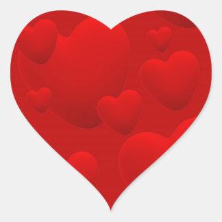 RED LAYERED 3D HEARTS LOVE MOTIVATIONAL SWEETHEART HEART STICKER