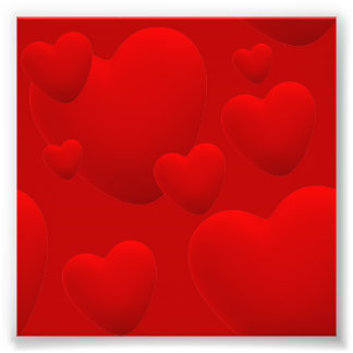 RED LAYERED 3D HEARTS LOVE MOTIVATIONAL SWEETHEART PHOTOGRAPHIC PRINT