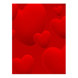 RED LAYERED 3D HEARTS LOVE MOTIVATIONAL SWEETHEART POSTCARD