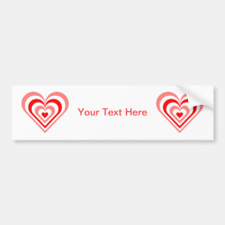 Red Layered Heart Bumper Sticker