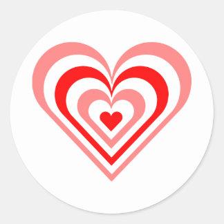 Red Layered Heart Round Sticker