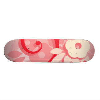 Red Leaf and Cream Flower Swirl Custom Skateboard