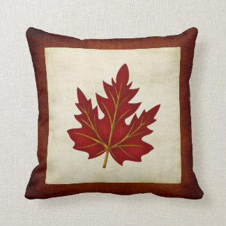 Red Leaf Fall Season Themed Pillow Throw Cushions