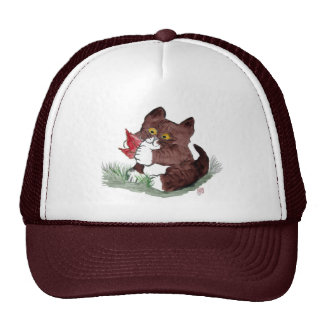 Red Leaf I Gotcha says Kitten Sumi-e Hats