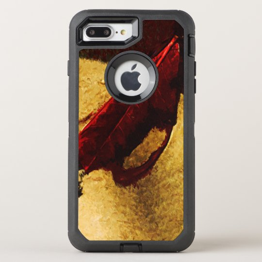 Red Leaf on Beach Abstract Impressionist OtterBox Defender iPhone 8 Plus/7 Plus Case