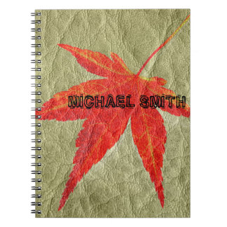 Red Leaf on Tan Leather Spiral Notebook