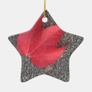 Red leaf on tarmac christmas ornament