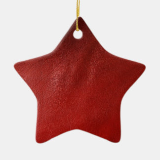 Red leather design ceramic star decoration