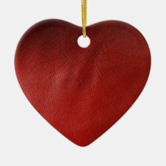 Red leather design christmas ornament