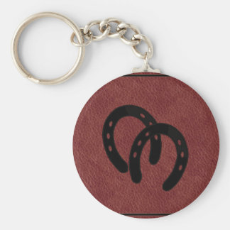 Red LEATHER Horse Shoe KEYCHAIN