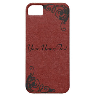 Red Leather Image with Tooled Scrolls in Black iPhone 5 Cover