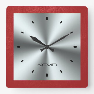 Red Leather & Metallic Stainless Steel Square Wall Clock