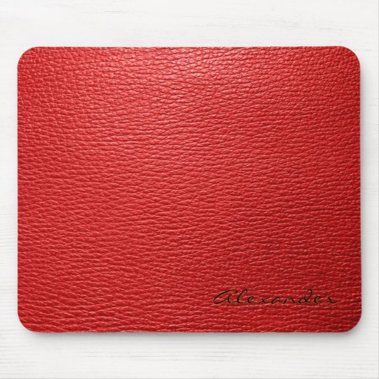 Red Leather Pattern look- Custom Monogram Mouse Mat