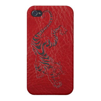 Red Leather Tiger Cover For iPhone 4