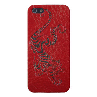 Red Leather Tiger iPhone 5/5S Cases