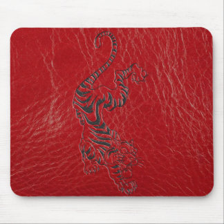 Red Leather Tiger Mouse Mat