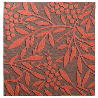 Red leaves and berries japanese pattern napkin