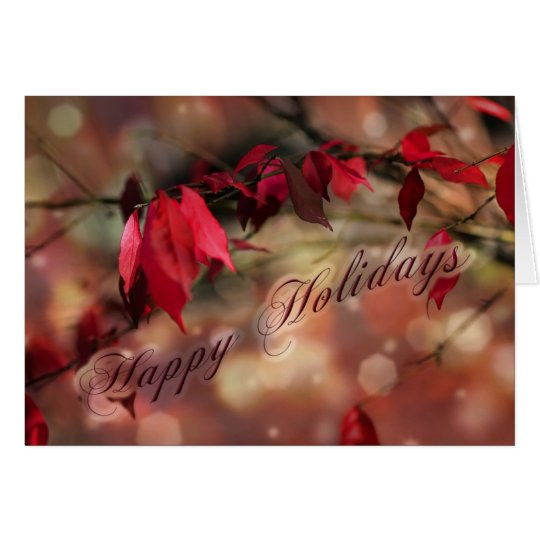 Red Leaves Holiday Wishes Greeting Card